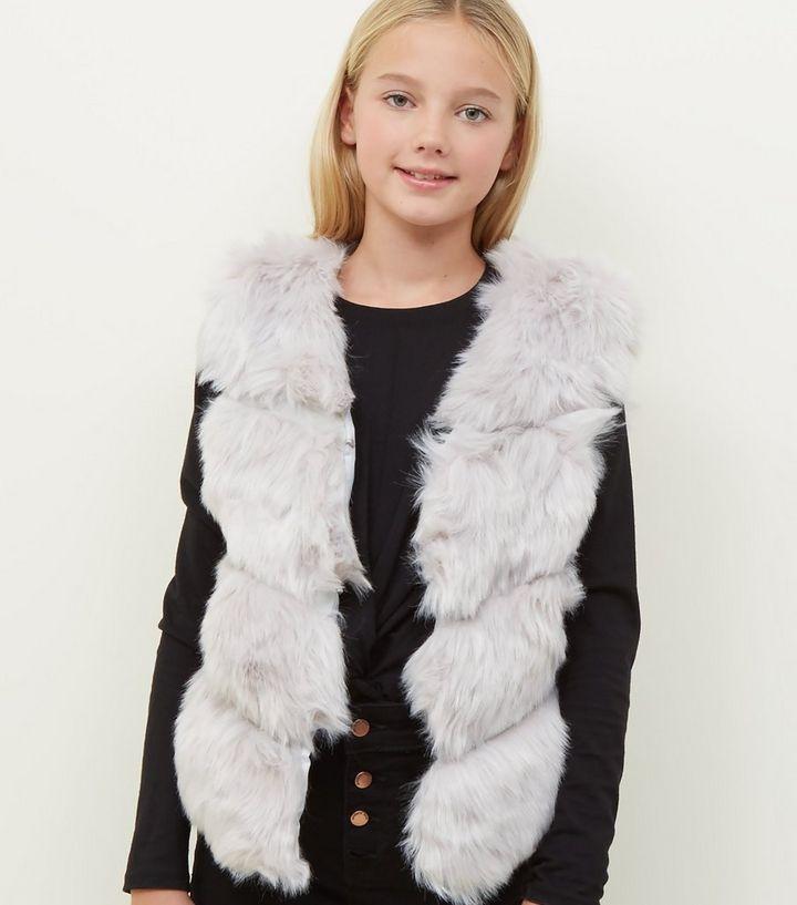 0d9fb4b9 Girls Pale Grey Chevron Pelted Faux Fur Gilet | New Look
