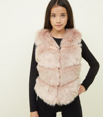 Girls Pale Pink Chevron Pelted Faux Fur Gilet