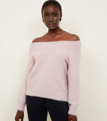 Pale Pink Fluffy Bardot Jumper