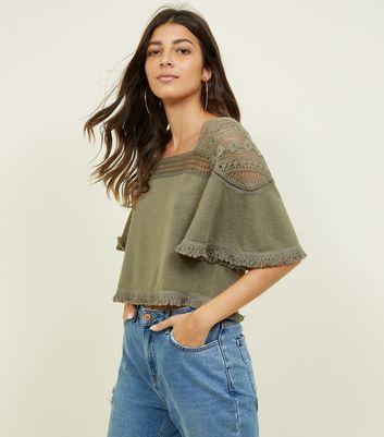 khaki-fine-knit-crochet-yoke-t-shirt by new-look