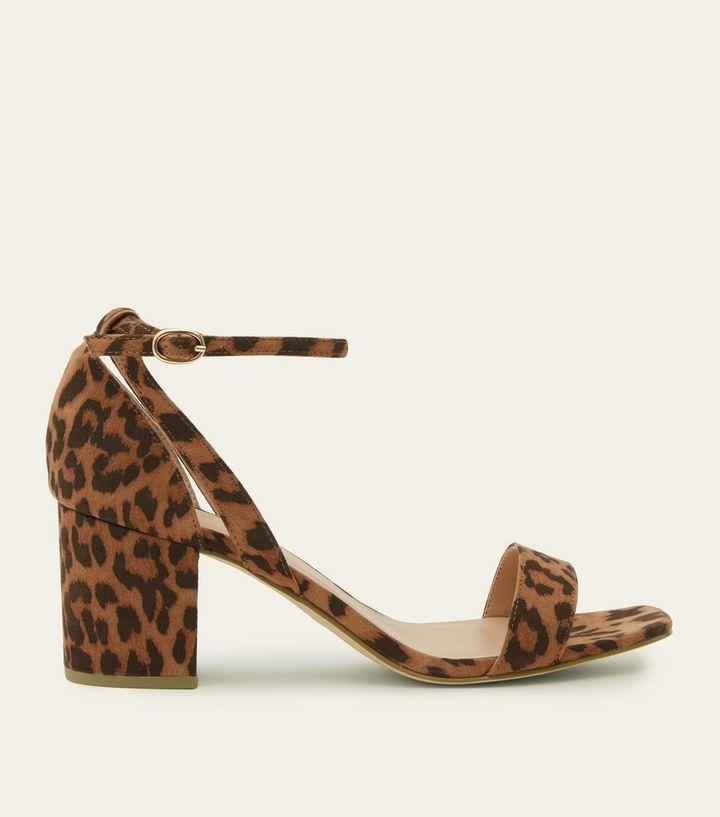 9772260424f2 Wide Fit Tan Leopard Print Block Heel Sandals | New Look