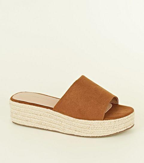 9d517d199dd Tan Suedette Espadrille Flatform Sandals · Tan Suedette Espadrille Flatform  Sandals ...