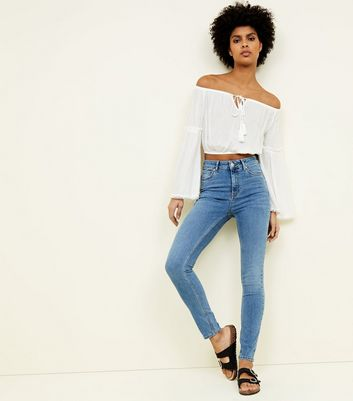 Pale Blue 'Lift & Shape' Skinny Jeans