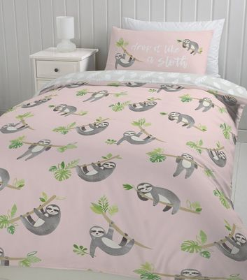 ... Pink Sloth Print Cotton Single Duvet Set ...
