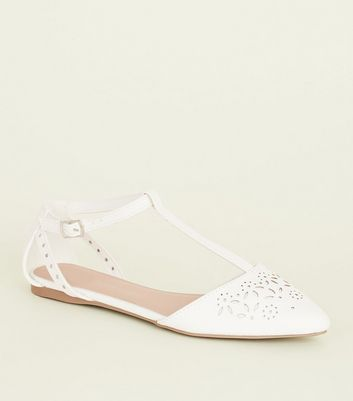 Girls White Laser Cut T-Bar Flats