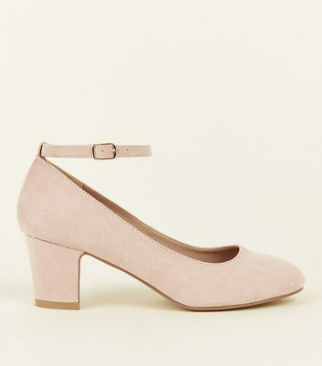 Wide Fit Nude Suedette Block Heel Court Shoes