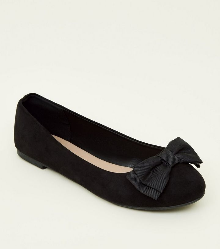0d8b84283b Wide Fit Black Suedette Bow Front Ballet Pumps | New Look
