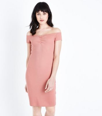 Coral Ruched Bardot Bodycon Dress