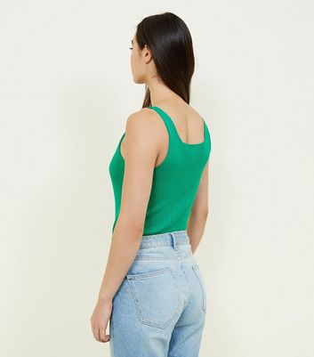 Green Ribbed Button Front Vest New Look