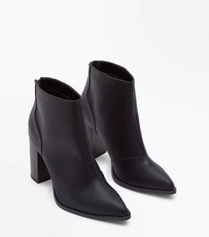 on feet shots of utterly stylish classic fit Wide Fit Black Pointed Block Heel Boots | New Look