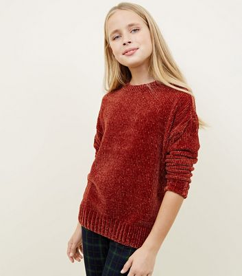 Girls Rust Chenille Slouchy Jumper