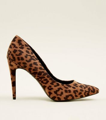 Tan Suedette Leopard Print Pointed Courts