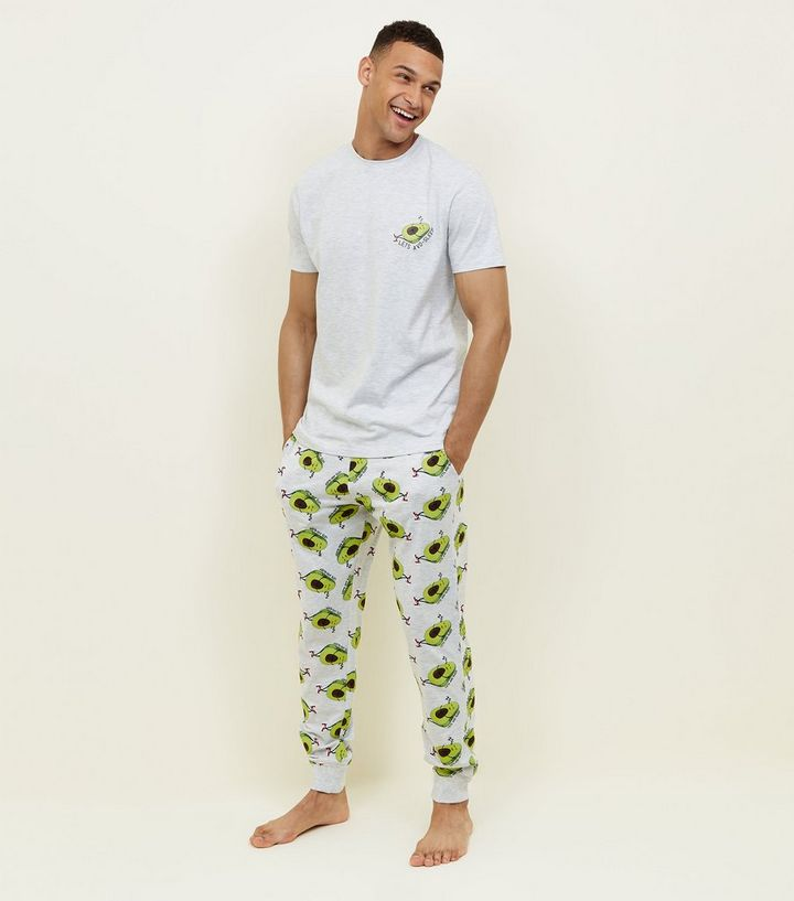 Light Grey Avocado Print Pyjama Set  806b79eab