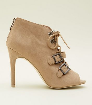 Light Brown Lace Up Peep Toe Shoe Boots