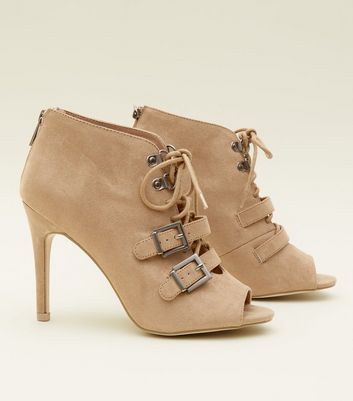 Light Brown Lace Up Peep Toe Shoe Boots New Look