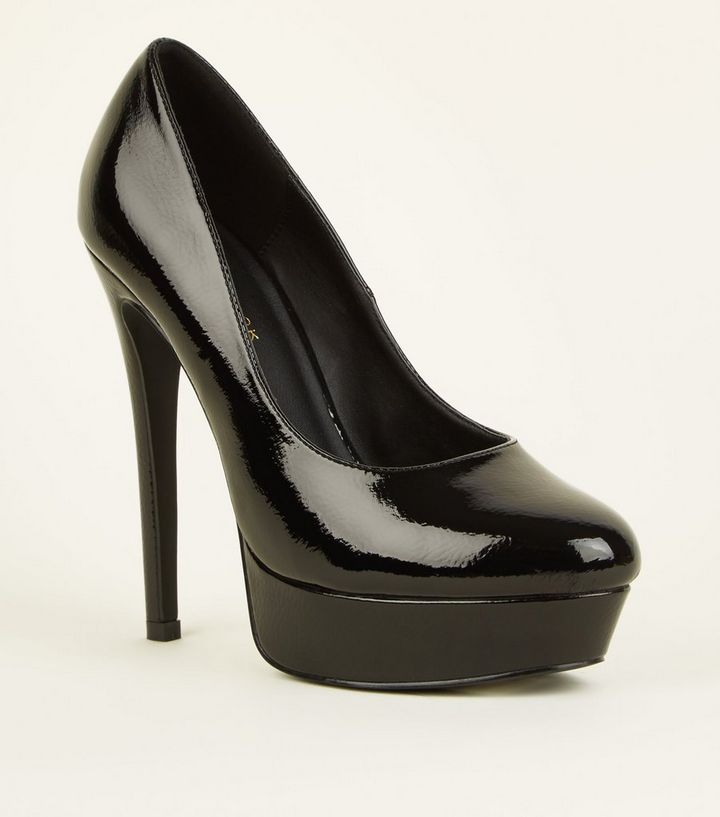 3c62e899759 Black Patent Platform Stiletto Heels