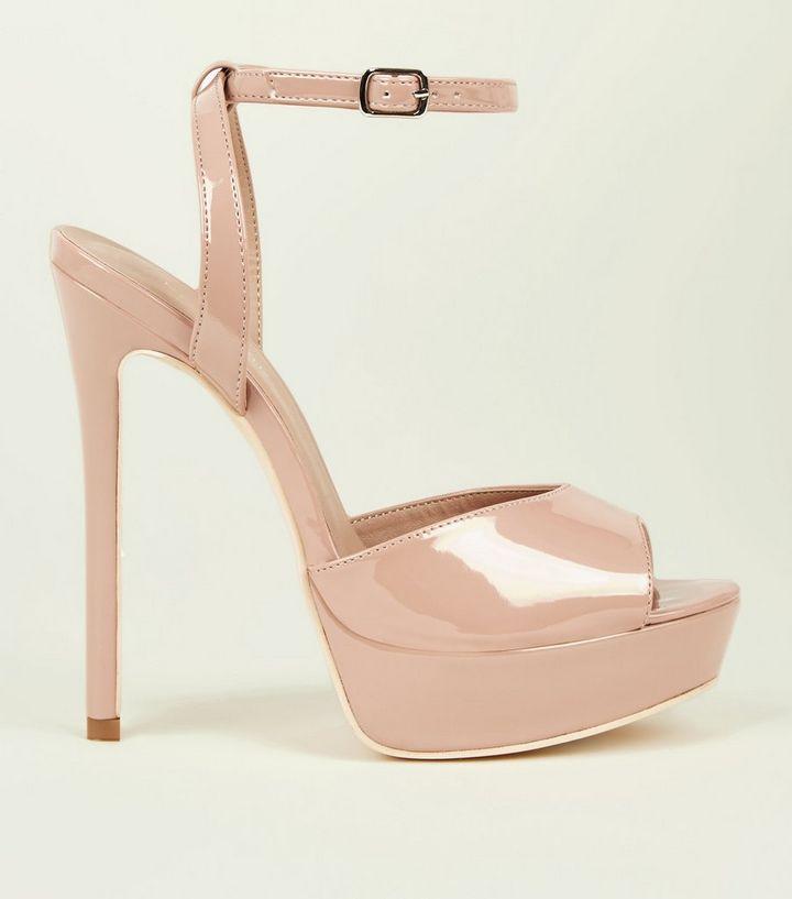 23ea32748731 Nude Patent Peep Toe Platform Sandals