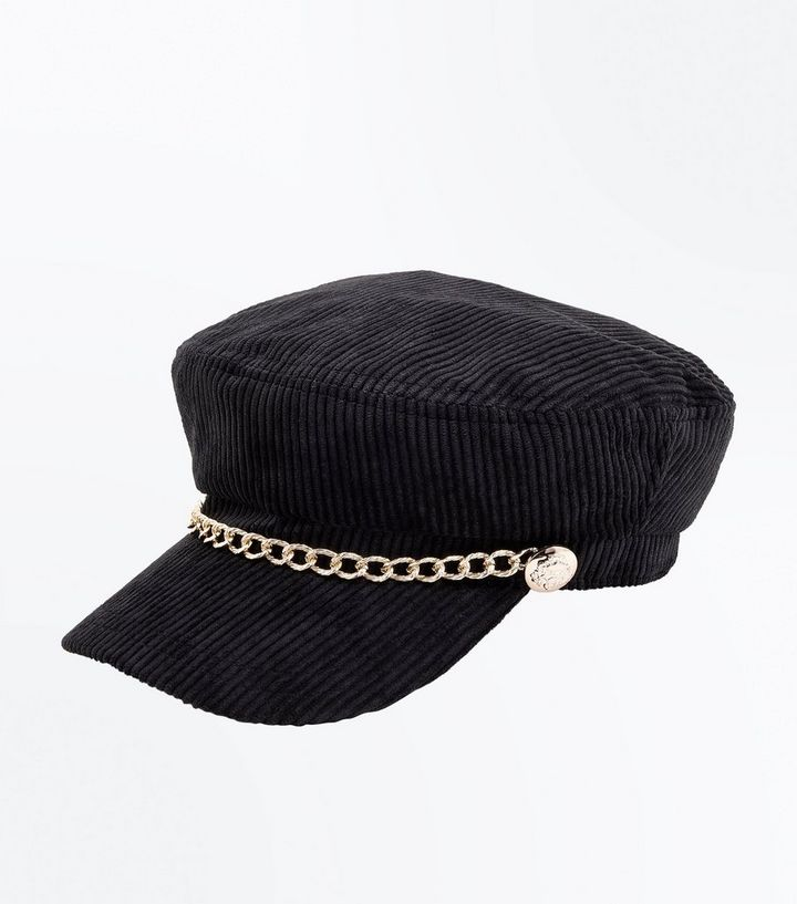 4ad27ceca6383 Black Chain Cord Baker Boy Hat