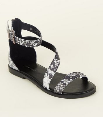 Wide Fit Black Leather Snakeskin Print Strappy Sandals