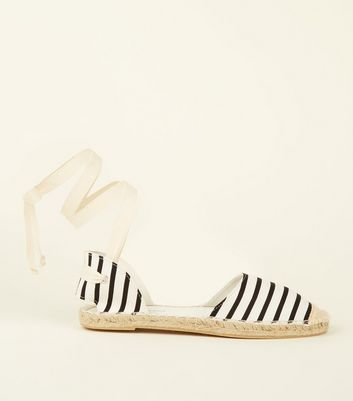 Black Canvas Stripe Ankle Tie Espadrilles