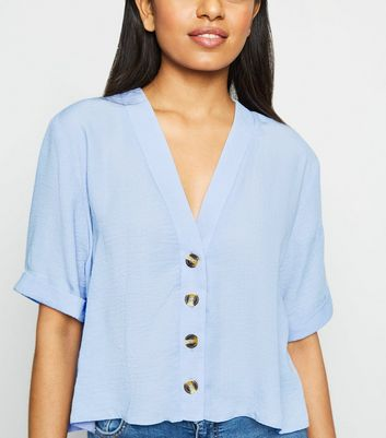 Petite Pale Blue Button Front Boxy Shirt