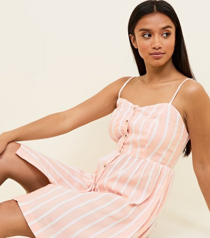 179ba63191 ... Petite Pink Woven Stripe Button Front Sundress. ×. ×. ×. Shop the look