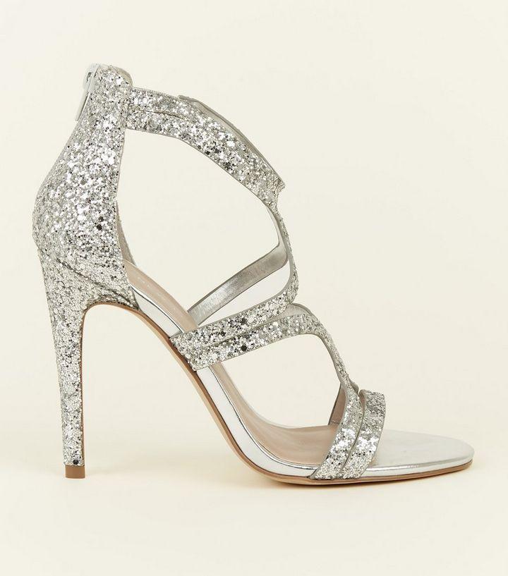 3a6b05913 Wide Fit Silver Glitter Strappy Stiletto Sandals | New Look