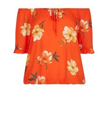 a8d6df67311ad7 Orange Floral Frill Trim Cold Shoulder Top | New Look