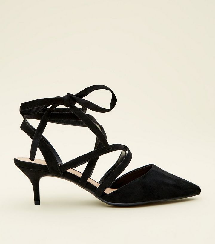 utterly stylish quality best value Wide Fit Black Suedette Ankle Tie Kitten Heels Add to Saved Items Remove  from Saved Items
