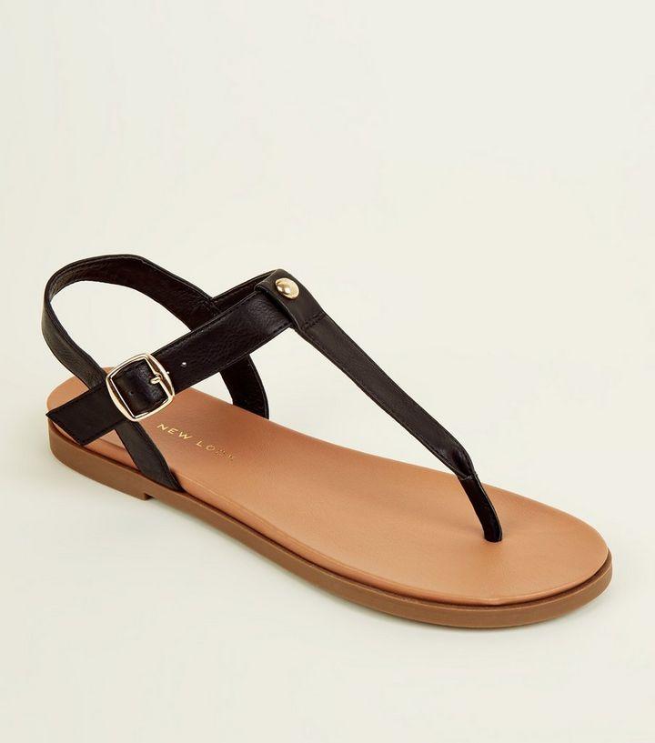 d8434437ff20b9 Wide Fit Black Footbed Sandals