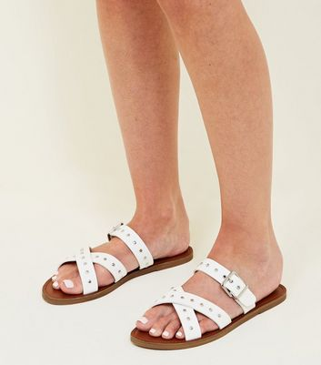 White Studded Cross Strap Mules New Look
