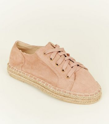 Wide Fit Nude Suedette Lace Up Espadrille Trainers