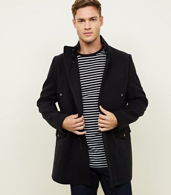 Navy Single Breasted Military Style Coat