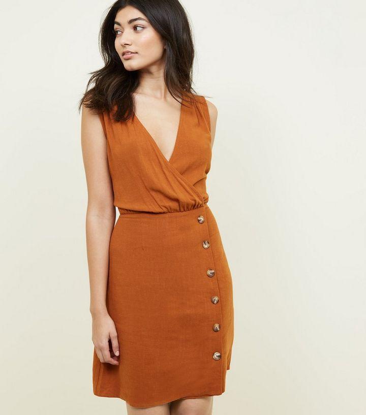e7f695d440 Rust Linen-Look Button Front Wrap Dress