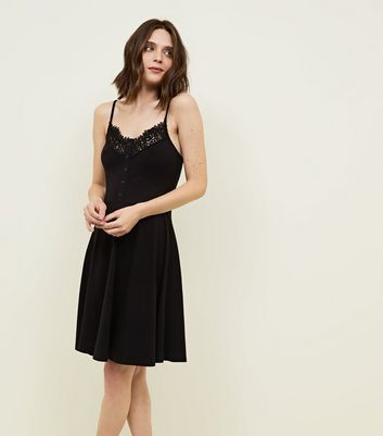 Black Crochet Trim Button Front Skater Dress