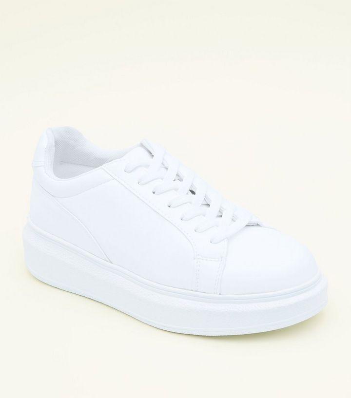 moderne Techniken anders bieten viel Weiße Schnür-Sneaker mit dicker Sohle   New Look