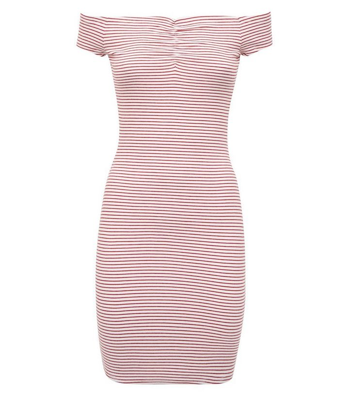 0209bf59be88 ... Red Stripe Ruched Bardot Bodycon Dress. ×. ×. ×. Shop the look