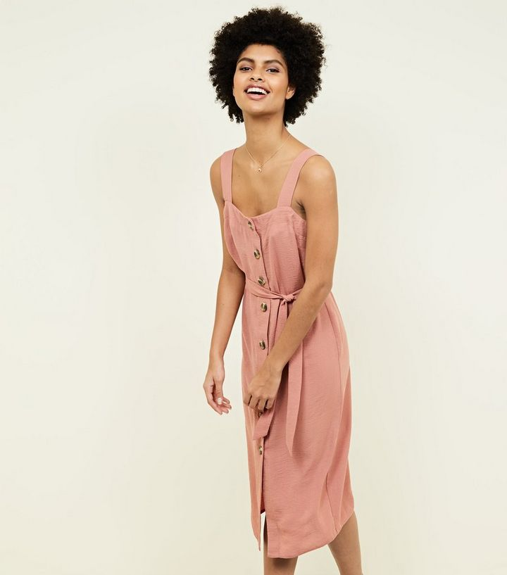 62c13893280 Rust Button Up Belted Linen-Look Midi Dress
