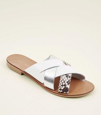 White Leather and Faux Snake Cross Strap Sandals