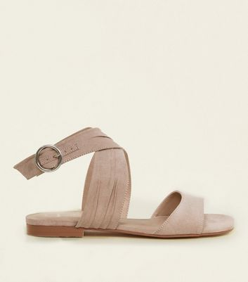 Wide Fit Nude Suedette Ruched Cross Strap Sandals