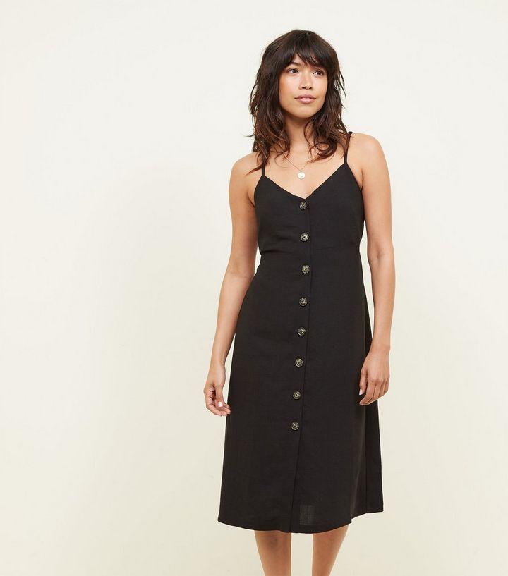 c934e661b4c Black Button Front Strappy Midi Dress