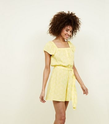 Yellow Floral Square Neck Button Up Playsuit