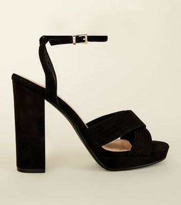 Wide Fit Black Cross Strap Platform Sandals