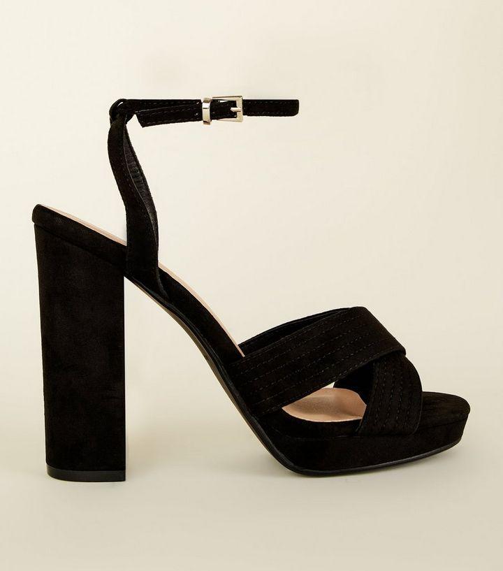 d5b65cb9051f Wide Fit Black Cross Strap Platform Sandals