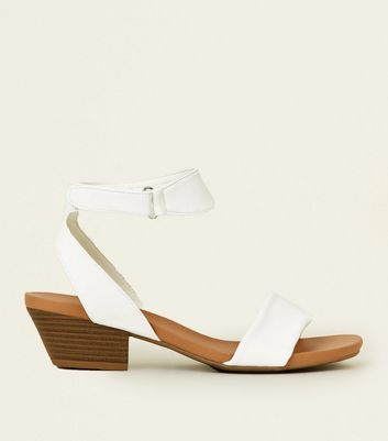Wide Fit White Cuban Heel Footbed Sandals New Look