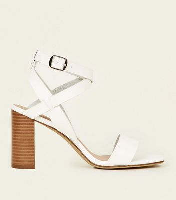 White Leather-Look Square Toe Block Heel Sandals