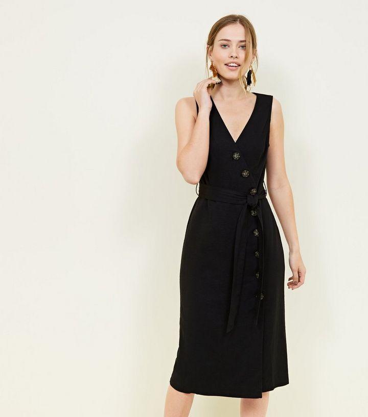 ee7650edfd Black Linen Blend Button Up Midi Wrap Dress   New Look