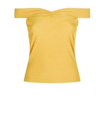 Yellow Ribbed Sweetheart Neck Top New Look