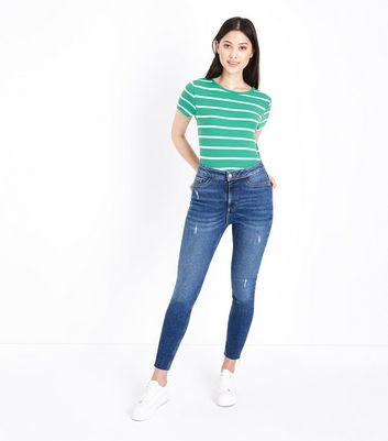 Petite Green Stripe Ribbed T-Shirt New Look