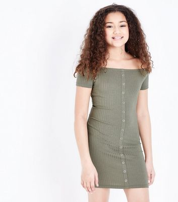 Girls Khaki Ribbed Bardot Neck Bodycon Dress